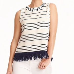 J Crew Fringed Boatneck Shell In Stripe Size Small